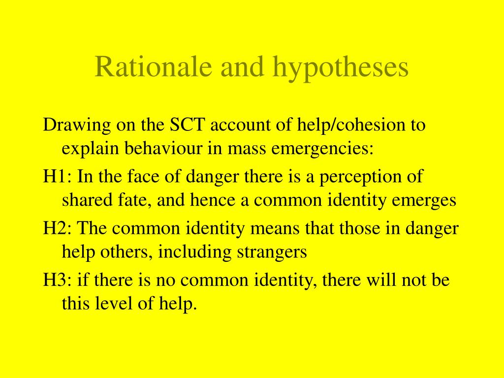 Rationale and hypotheses