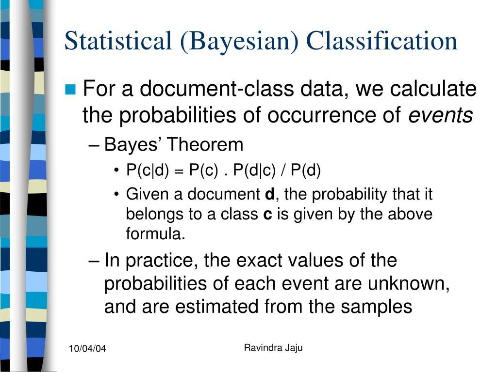 Statistical (Bayesian) Classification