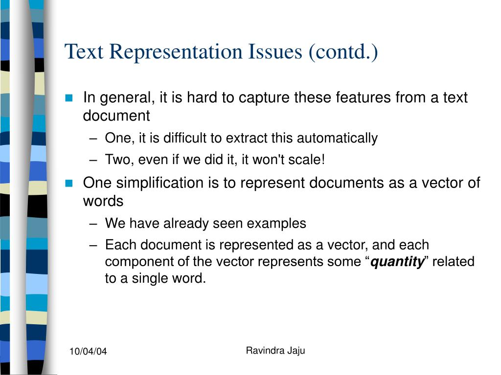 Text Representation Issues (contd.)