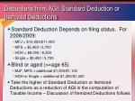 deductions from agi standard deduction or itemized deductions