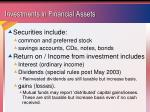 investments in financial assets