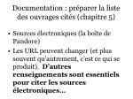 documentation pr parer la liste des ouvrages cit s chapitre 532