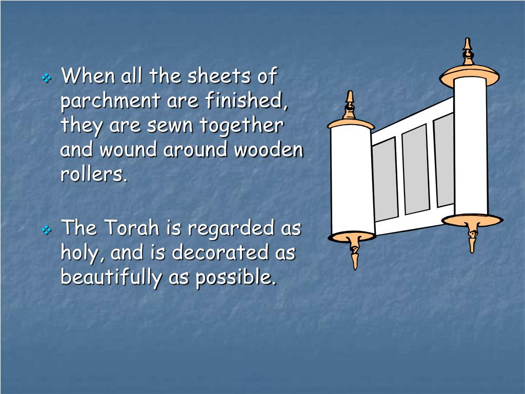 When all the sheets of parchment are finished, they are sewn together and wound around wooden rollers.