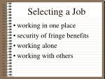 selecting a job13