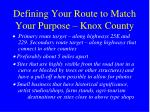 defining your route to match your purpose knox county