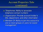 account properties tabs continued24