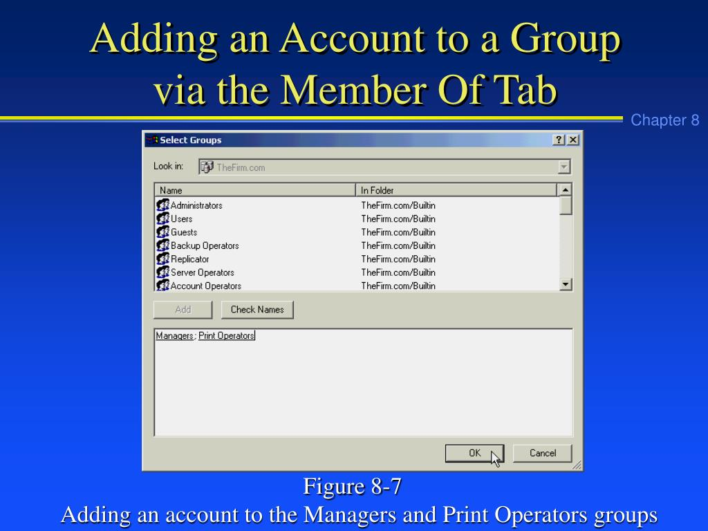 Adding an Account to a Group via the Member Of Tab