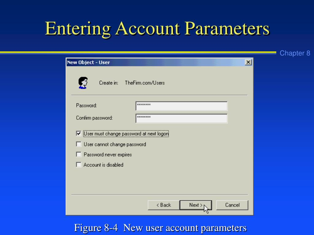 Entering Account Parameters