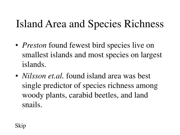Island Area and Species Richness