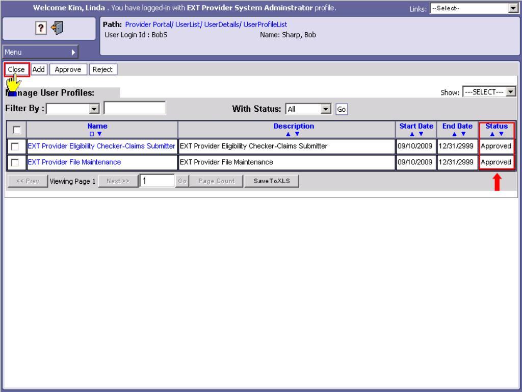 Manage User Profiles List - Close