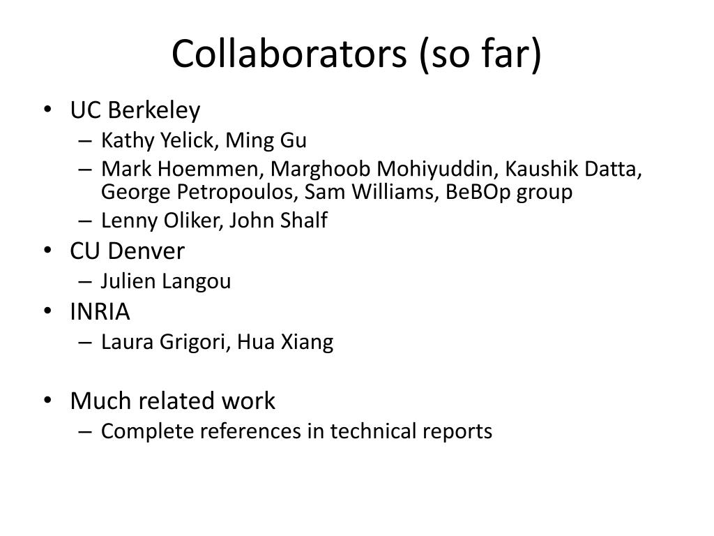 Collaborators (so far)