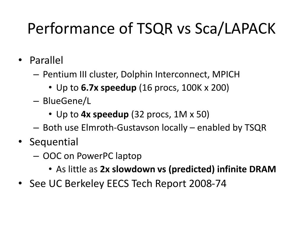 Performance of TSQR