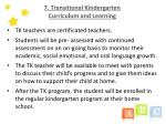 7 transitional kindergarten curriculum and learning