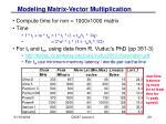 modeling matrix vector multiplication