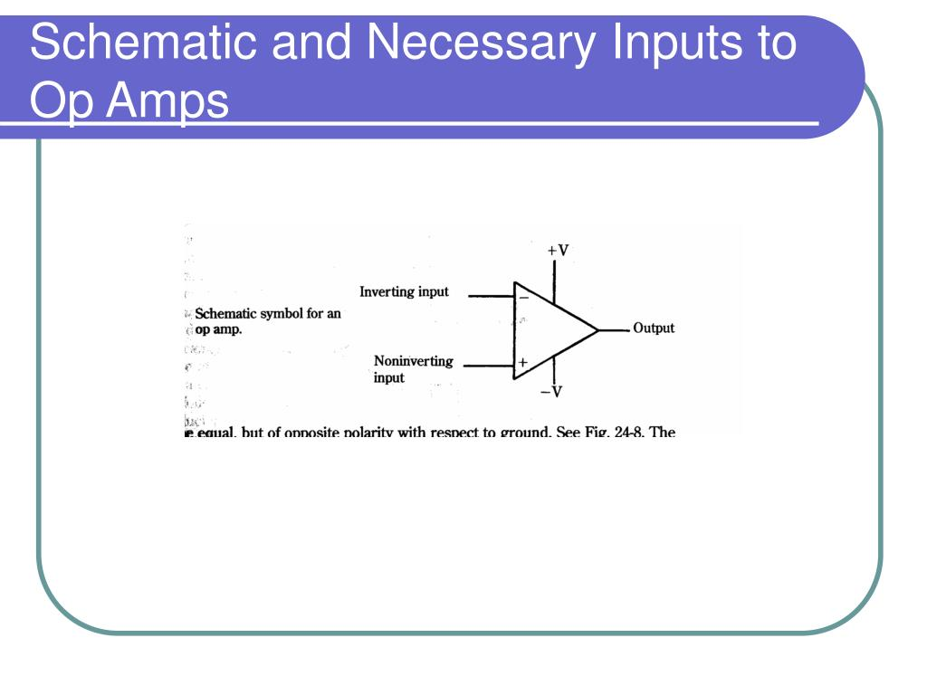 Schematic and Necessary Inputs to Op Amps