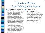 literature review asset management styles