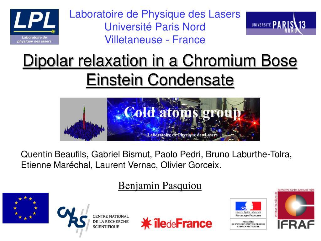 dipolar relaxation in a chromium bose einstein condensate l.