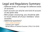 legal and regulatory summary