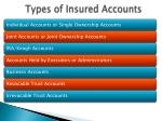 types of insured accounts