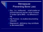 menopause preventing bone loss