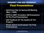 request for iab feedback final presentations