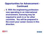 opportunities for advancement continued