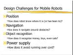 design challenges for mobile robots