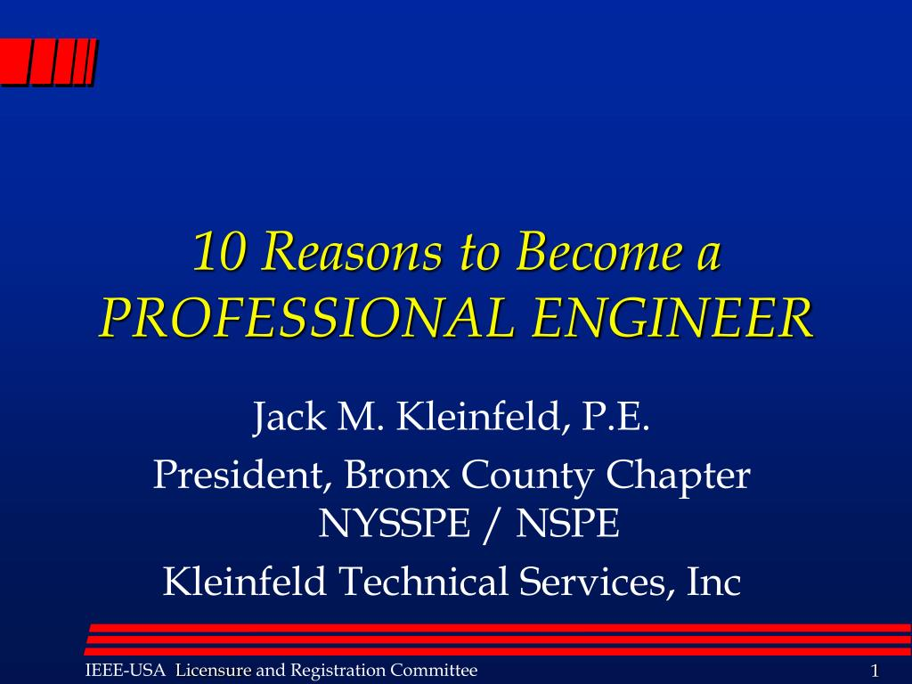 10 reasons to become a professional engineer l.