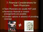 7 financial considerations for team physicians