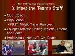 now that you have chosen your team 3 meet the team s staff