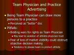 team physician and practice advertising