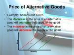 price of alternative goods