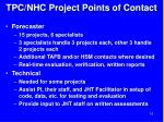 tpc nhc project points of contact
