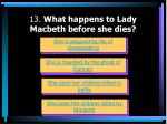 13 what happens to lady macbeth before she dies