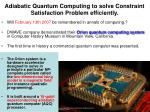 adiabatic quantum computing to solve constraint satisfaction problem efficiently