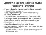 lessons from marketing and private industry public private partnerships