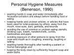 personal hygiene measures benenson 1990