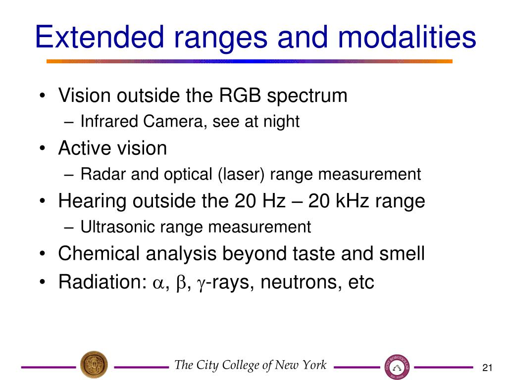 Extended ranges and modalities