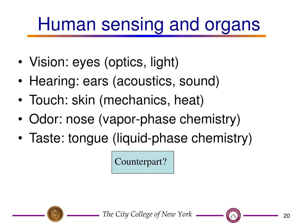 Human sensing and organs