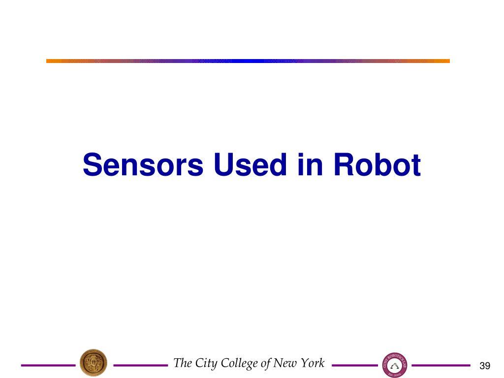 Sensors Used in Robot