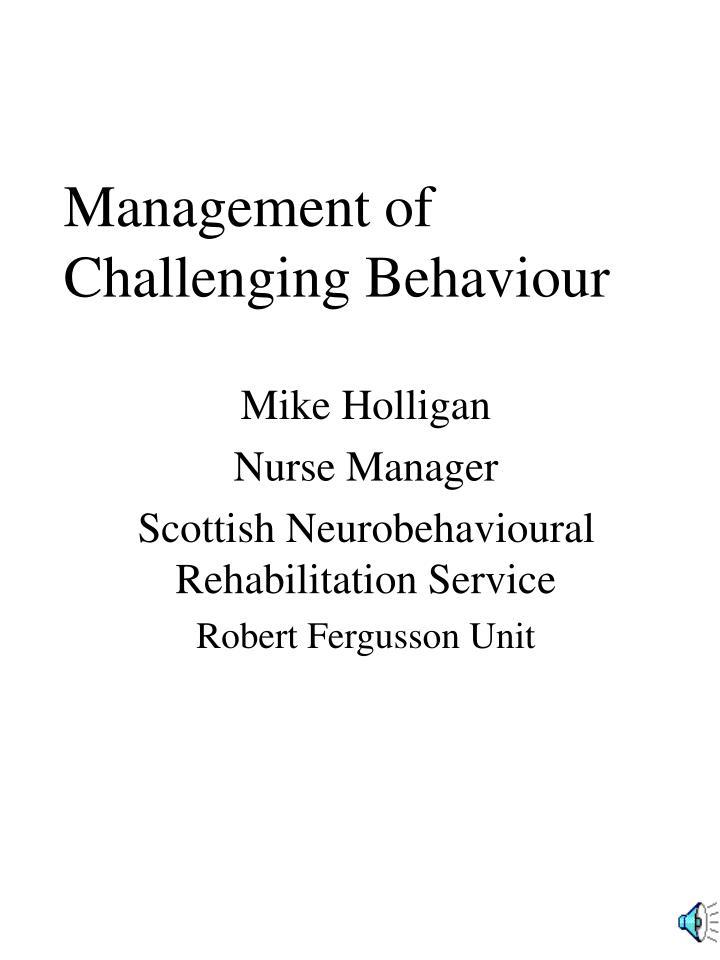 management of challenging behaviour n.