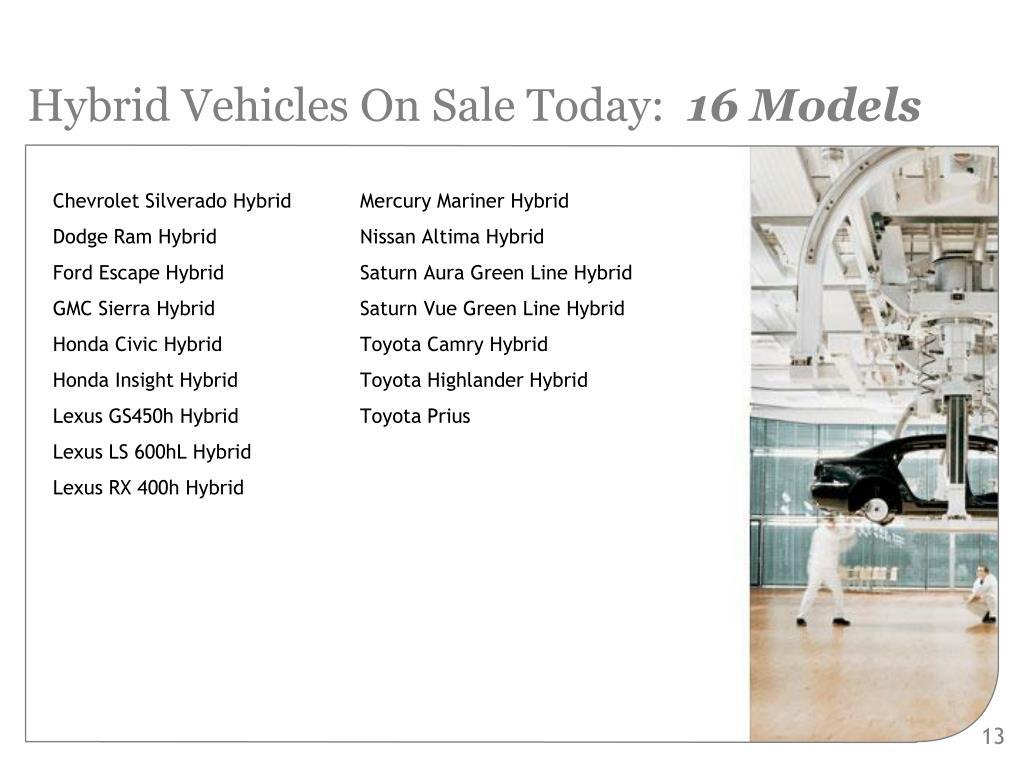 Hybrid Vehicles On Sale Today: