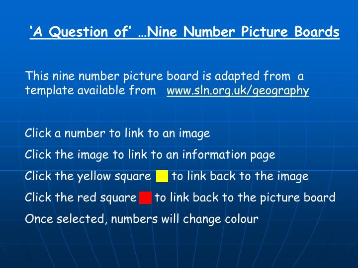'A Question of' …Nine Number Picture Boards