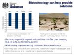 biotechnology can help provide solutions