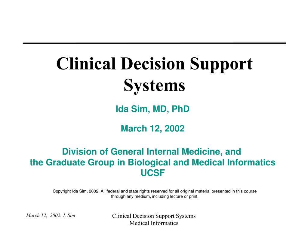 clinical decision support systems l.