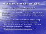 the balance sheet on interest groups