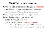 coalitions and divisions