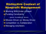 distinctive context of nonprofit management