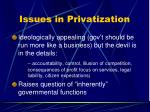 issues in privatization