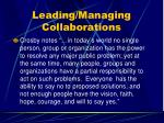 leading managing collaborations113